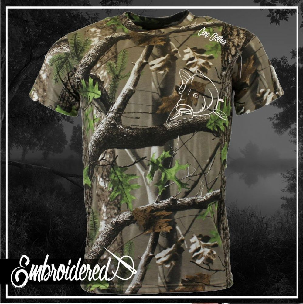 004 EMBROIDERED TREE CAMO T SHIRT
